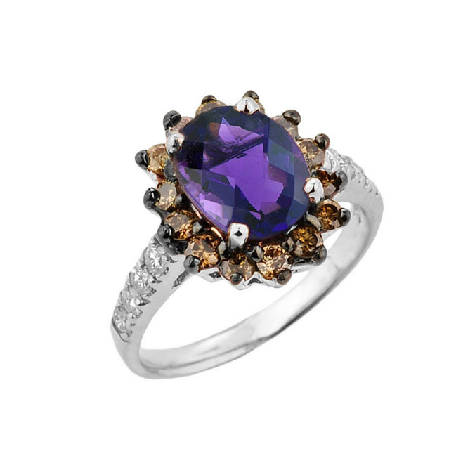 White Gold Amethyst Birthstone and Diamond Proposal Ring