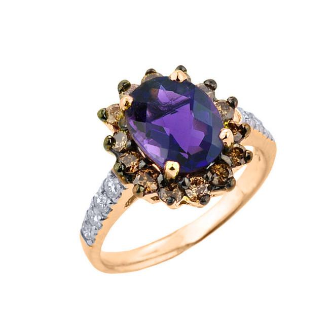 Yellow Gold Amethyst Birthstone and Diamond Proposal Ring