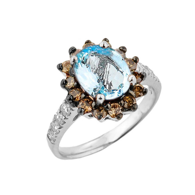 White Gold Aquamarine Birthstone and Diamond Proposal Ring