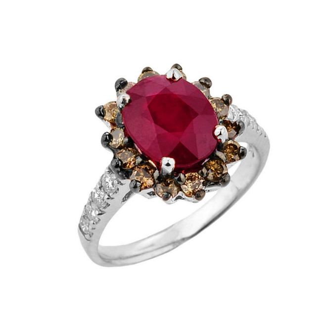 White Gold Ruby Birthstone and Diamond Proposal Ring
