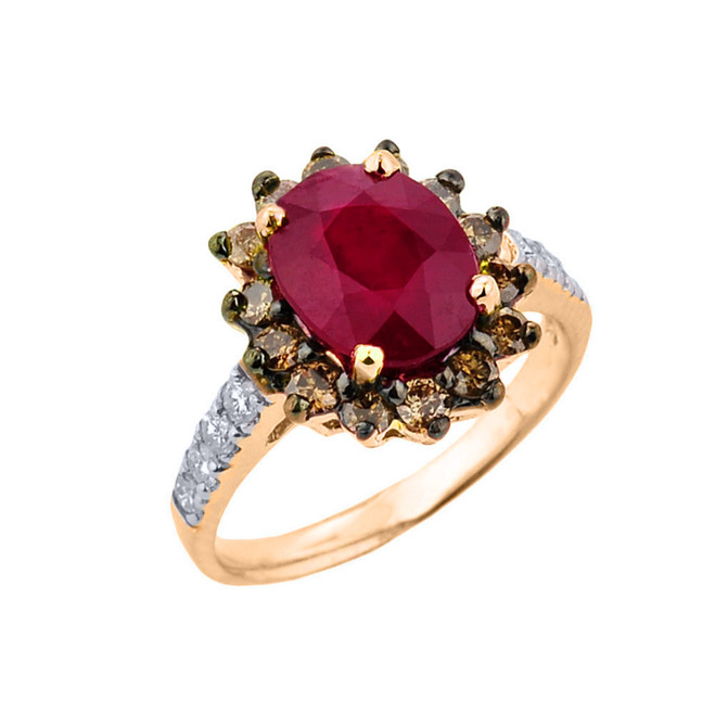 Yellow Gold Ruby Birthstone and Diamond Proposal Ring