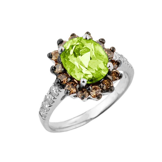 White Gold Peridot Birthstone and Diamond Proposal Ring