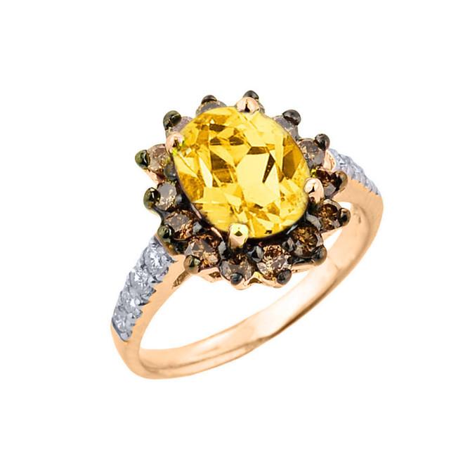 Yellow Gold Citrine Birthstone and Diamond Proposal Ring