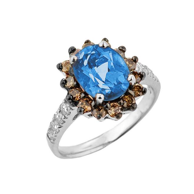 White Gold Blue Topaz Birthstone and Diamond Proposal Ring