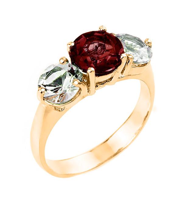 Yellow Gold Three Stone Garnet and White Topaz Gemstone Engagement Ring