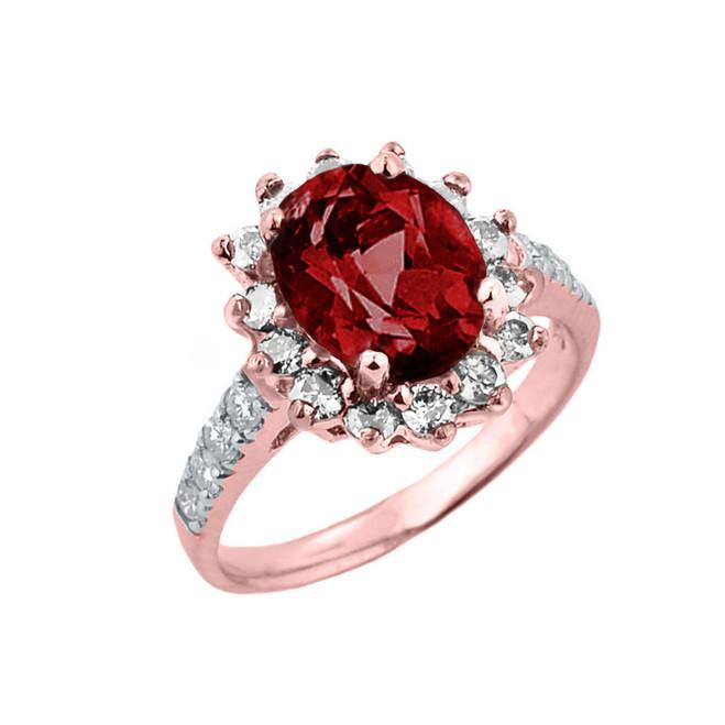 Rose Gold Diamond And Garnet Birthstone Proposal Ring