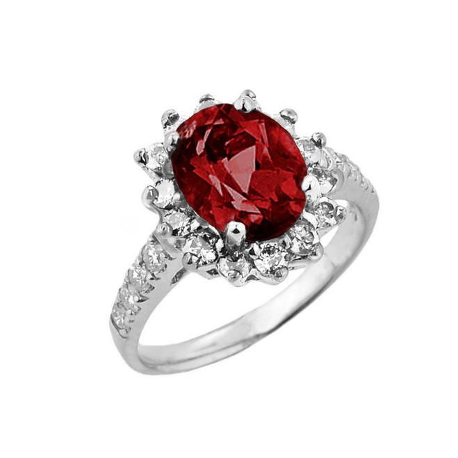 White Gold Diamond And Garnet Birthstone Proposal Ring
