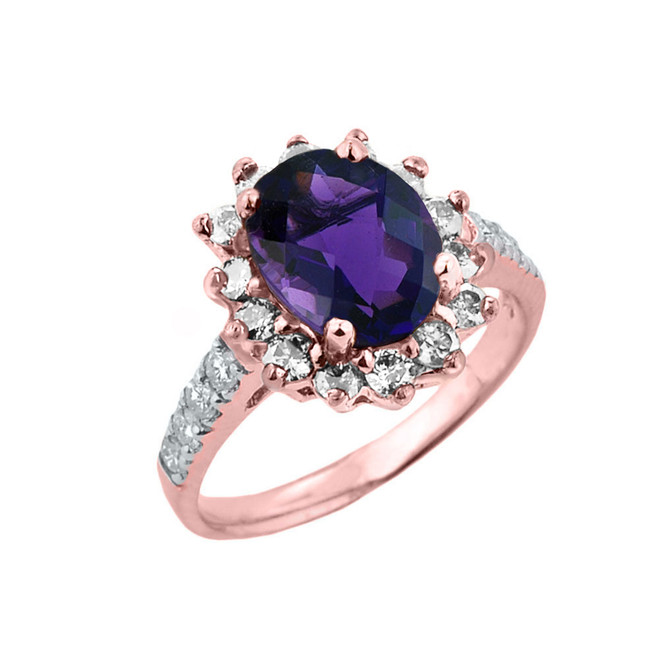 Rose Gold Diamond And Amethyst Birthstone Proposal Ring