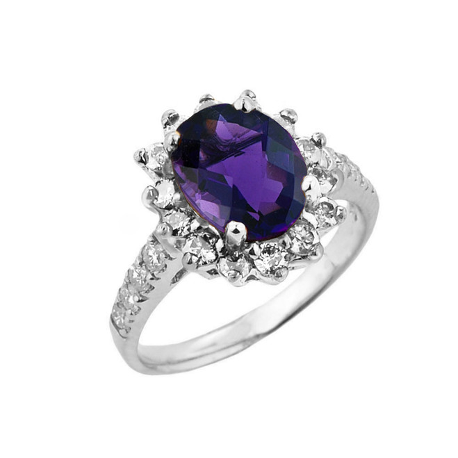 White Gold Diamond And Amethyst Birthstone Proposal Ring