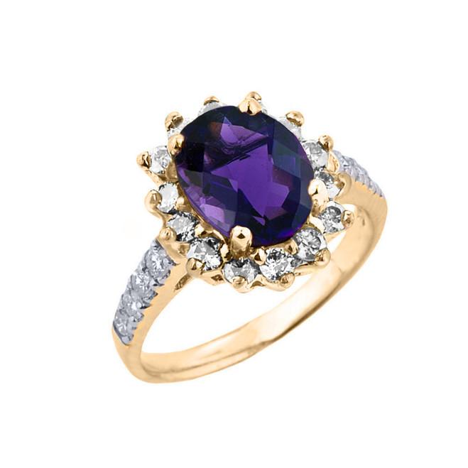 Yellow Gold Diamond And Amethyst Birthstone Proposal Ring