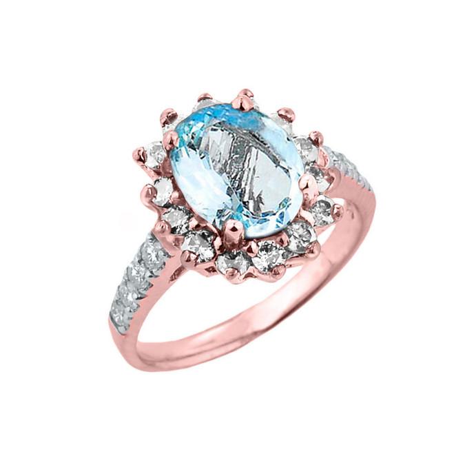 Rose Gold Diamond And Aquamarine Birthstone Proposal Ring
