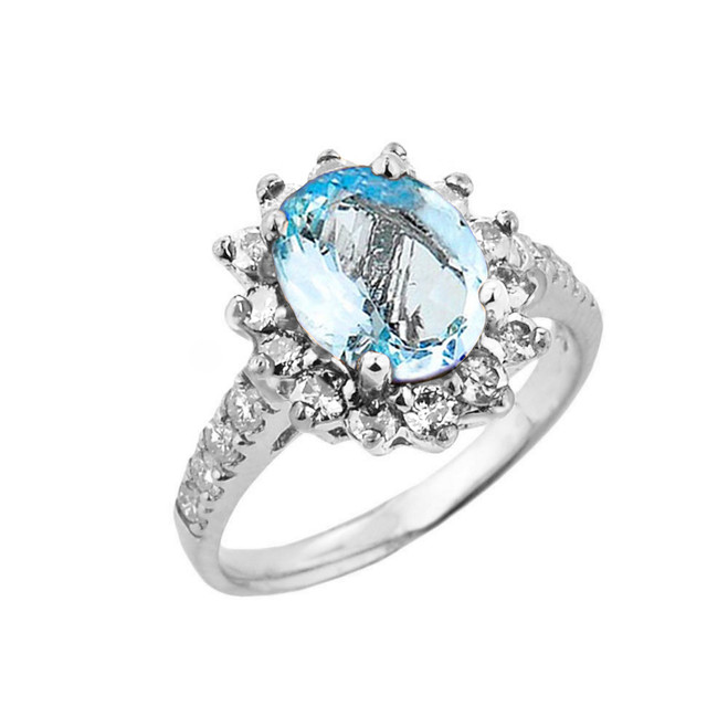 White Gold Diamond And Aquamarine Birthstone Proposal Ring