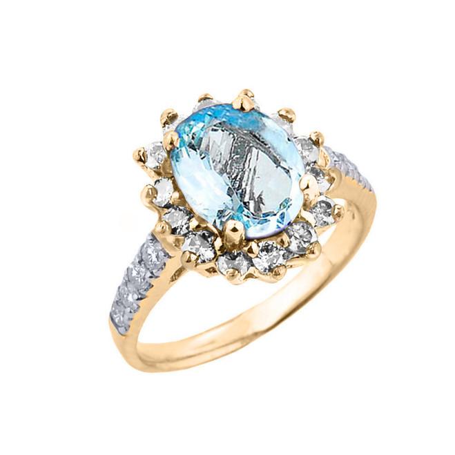 Yellow Gold Diamond And Aquamarine Birthstone Proposal Ring