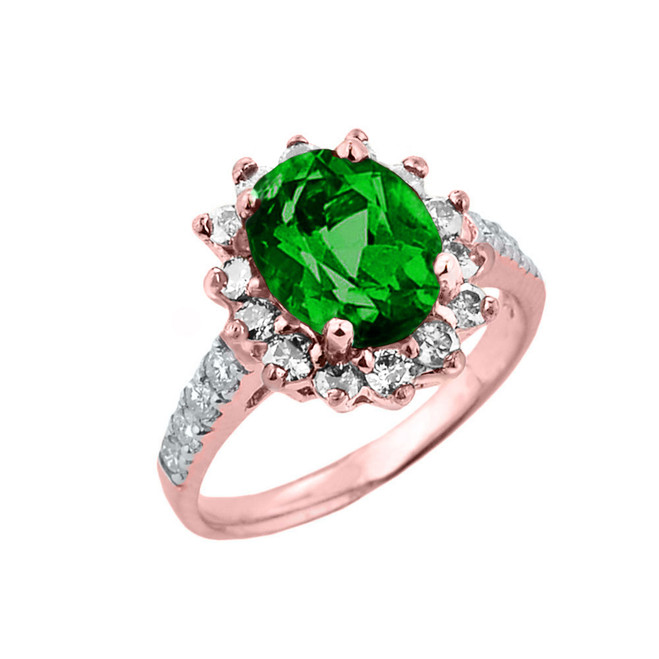 Rose Gold Diamond And Emerald (LCE) May Birthstone Proposal Ring