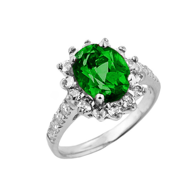White Gold Diamond And Emerald (LCE) May Birthstone Proposal Ring