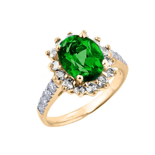 Yellow Gold Diamond And Emerald (LCE) May Birthstone Proposal Ring