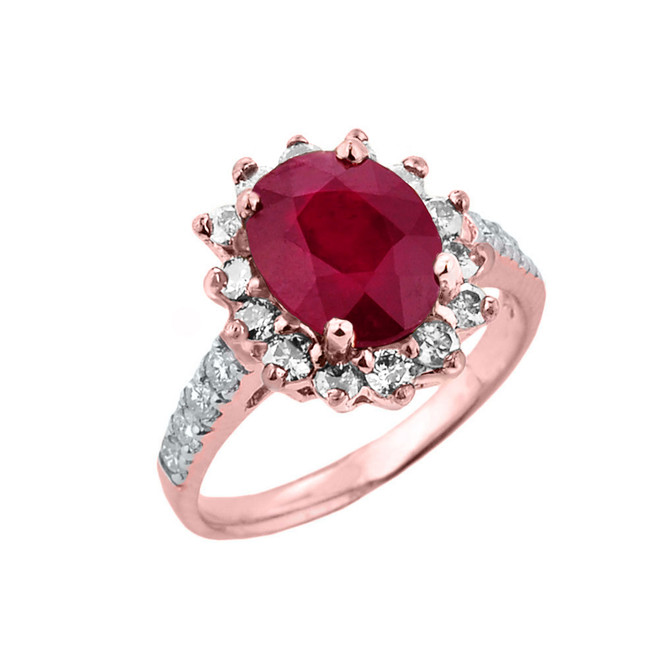 Rose Gold Diamond And Ruby Birthstone Proposal Ring