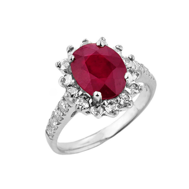White Gold Diamond And Ruby Birthstone Proposal Ring