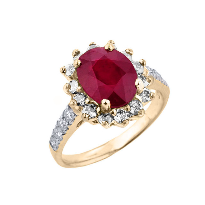 Yellow Gold Diamond And Ruby Birthstone Proposal Ring
