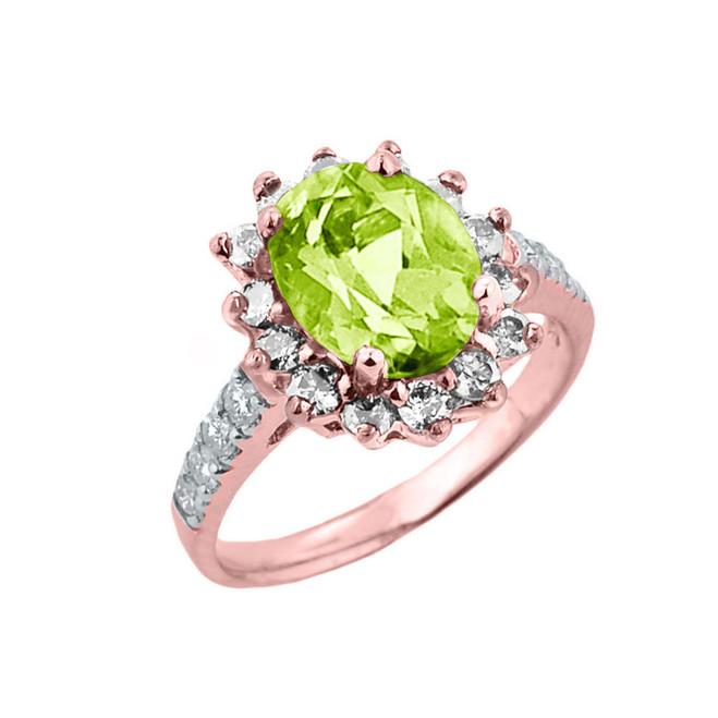 Rose Gold Diamond And Peridot Birthstone Proposal Ring