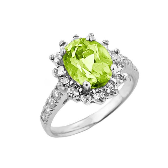 White Gold Diamond And Peridot Birthstone Proposal Ring
