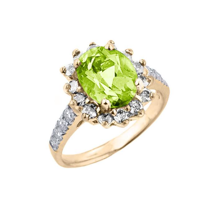 Yellow Gold Diamond And Peridot Birthstone Proposal Ring