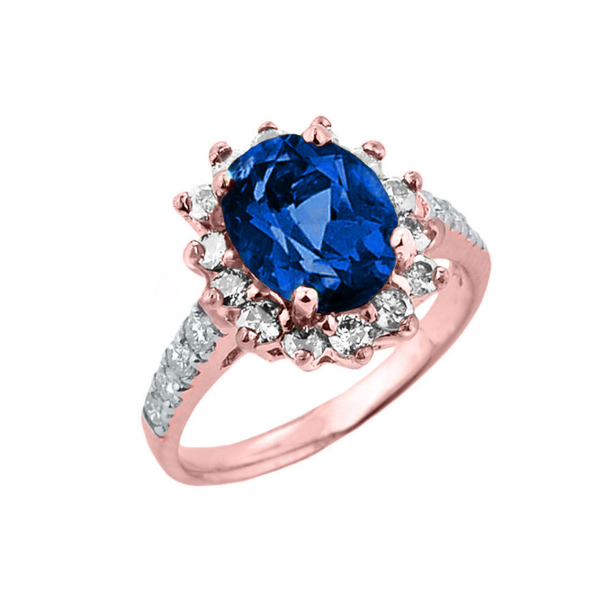 Rose Gold Diamond And Sapphire (LCS) September Birthstone Proposal Ring