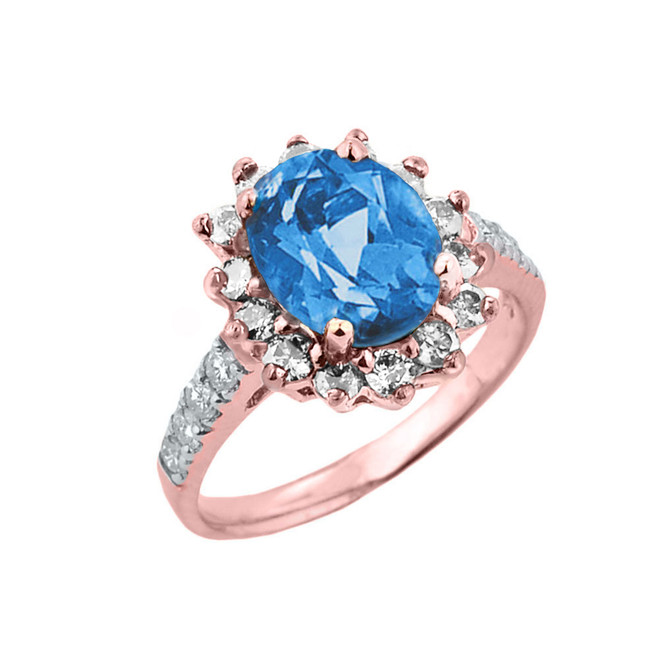 Rose Gold Diamond And Blue Topaz Birthstone Proposal Ring