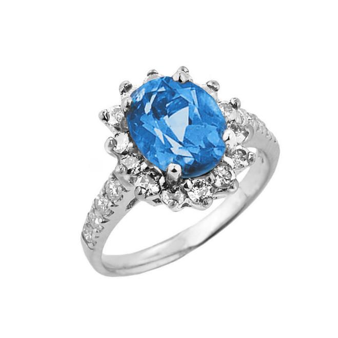 White Gold Diamond And Blue Topaz Birthstone Proposal Ring