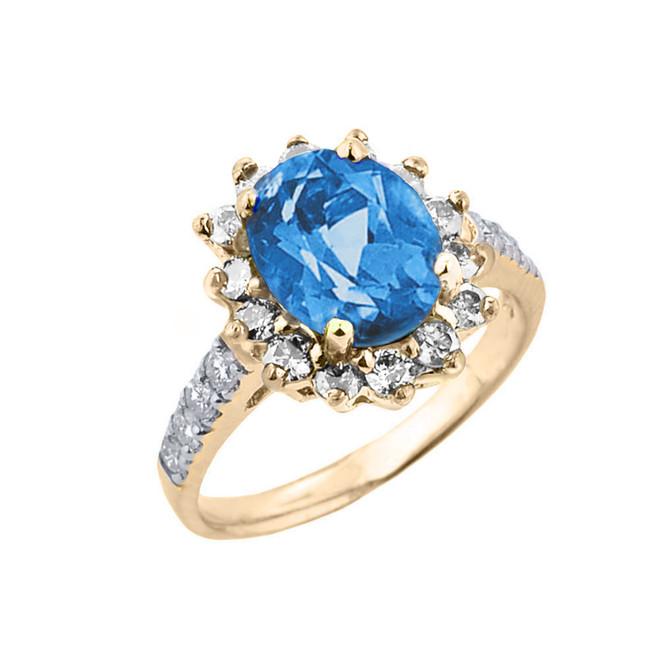 Yellow Gold Diamond And Blue Topaz Birthstone Proposal Ring