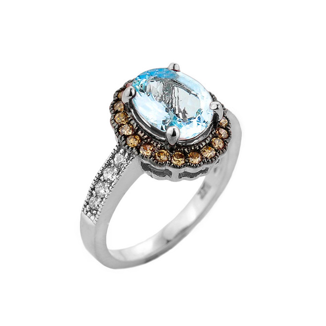 White Gold Aquamarine Birthstone and Diamond Engagement Ring