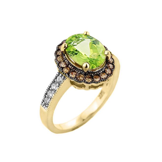 Yellow Gold Peridot and Diamond Engagement Ring