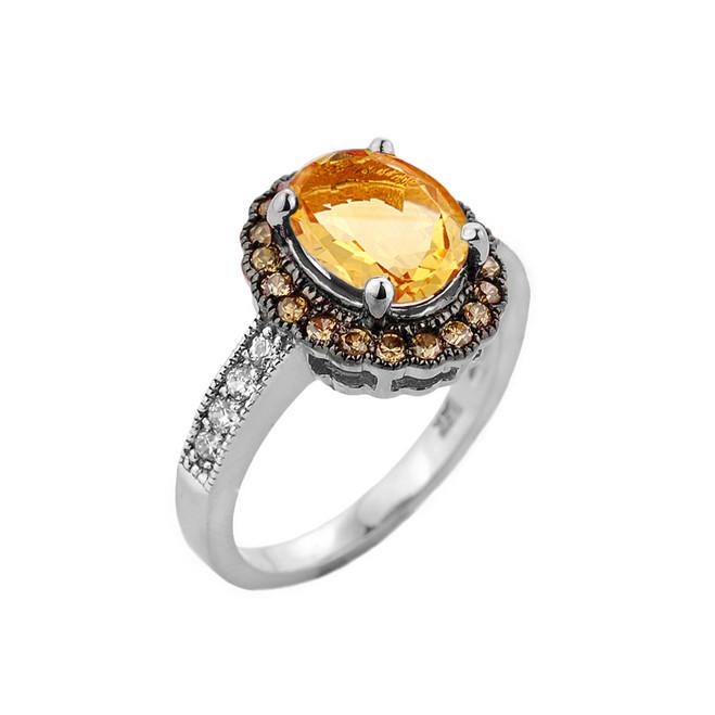 White Gold Citrine and Diamond Engagement Ring