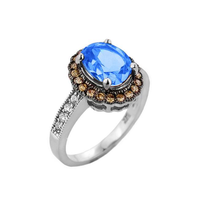 White Gold Blue Topaz Birthstone and Diamond Engagement Ring