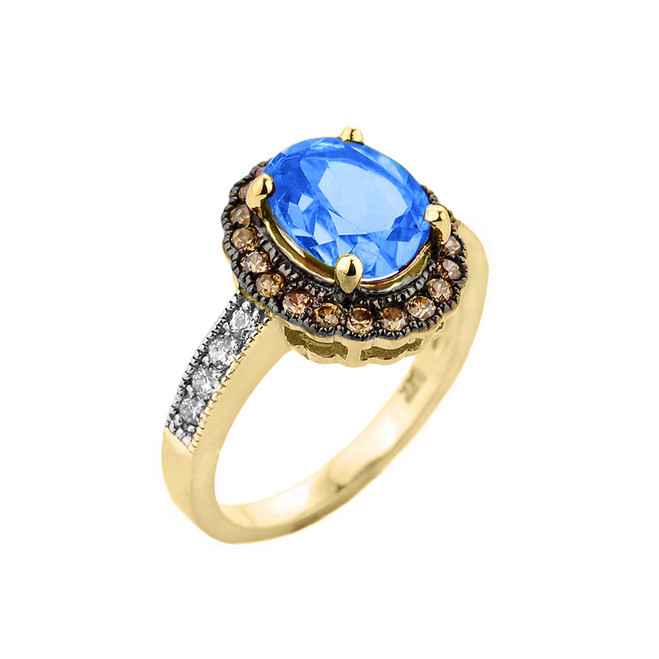 Yellow Gold Blue Topaz and Diamond Engagement Ring