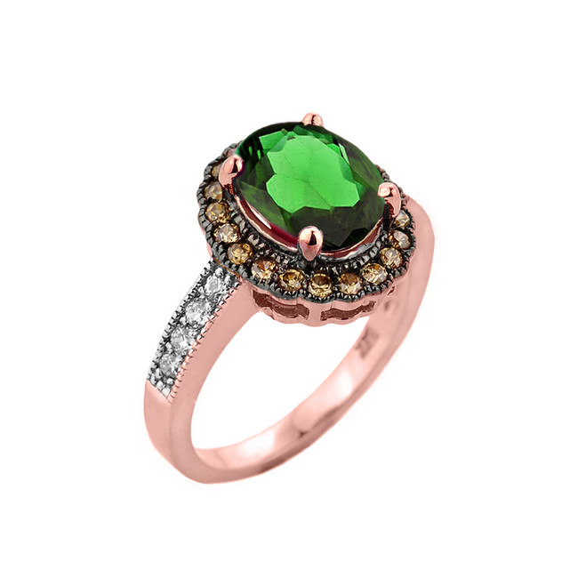 Rose Gold Diamond and Emerald (LCE) Engagement Ring