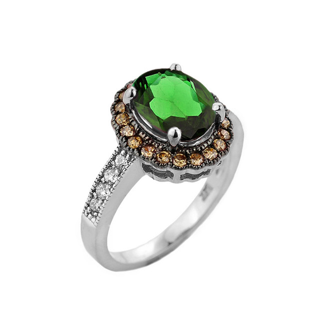 White Gold Diamond and Emerald (LCE) Engagement Ring