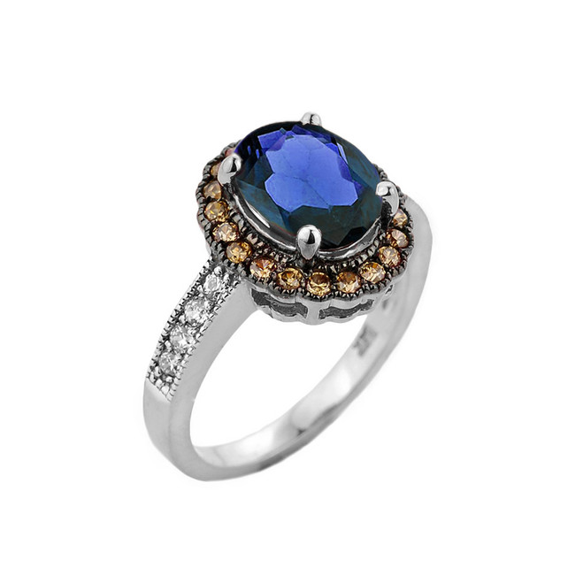 White Gold Diamond and Sapphire (LCS) Engagement Ring