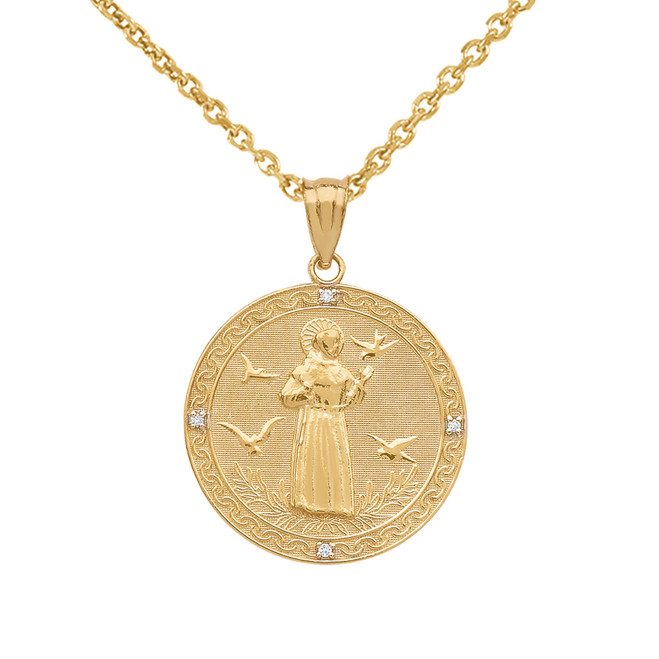 Yellow Gold Saint Francis of Assisi Circle Medallion Diamond Pendant Necklace (Small)