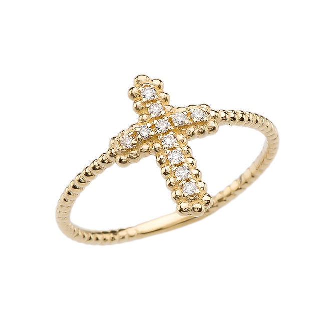 Diamond Cross With Beaded Band Dainty Yellow Gold Ring
