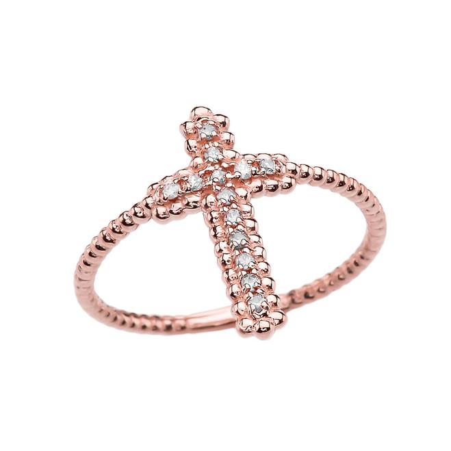 Diamond Cross Beaded Index Ring in Rose Gold