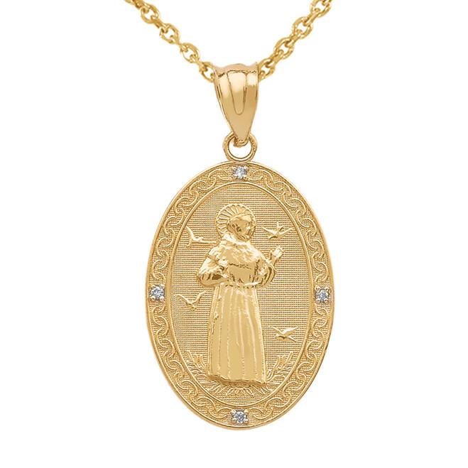 Yellow Gold St. Francis of Assisi Oval Medallion Diamond Pendant Necklace (Medium)