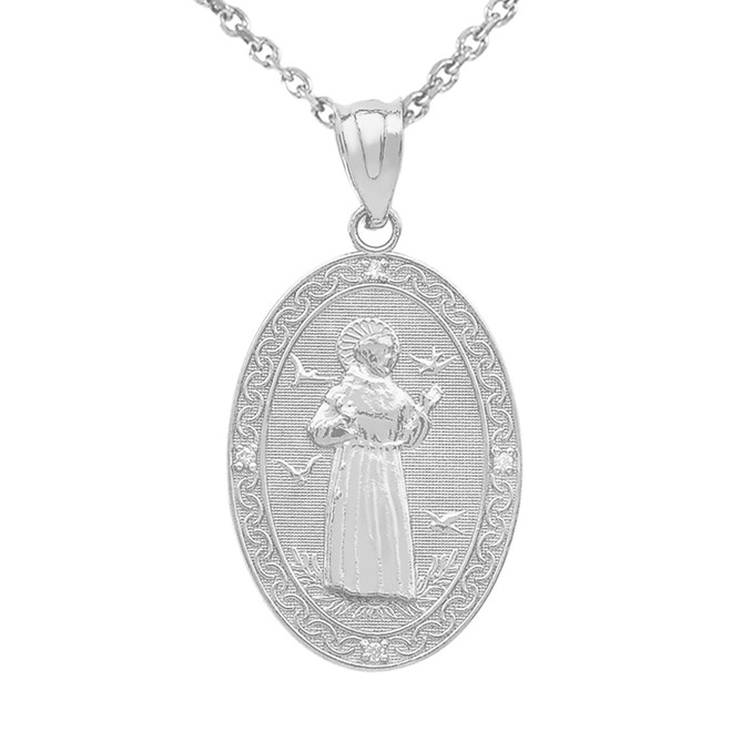 White Gold St. Francis of Assisi Oval Medallion Diamond Pendant Necklace (Medium)