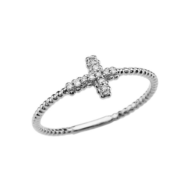 Diamond Sideways Cross Beaded Dainty White Gold Ring