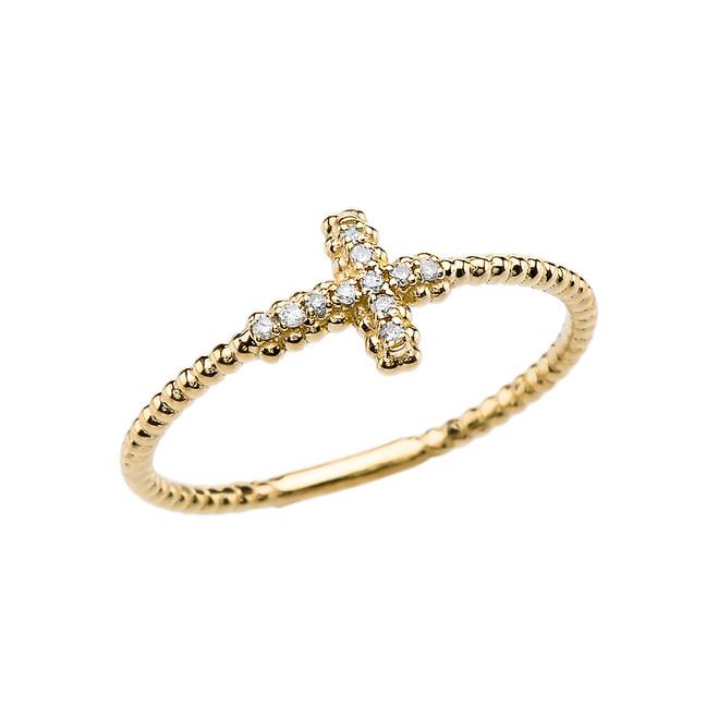 Diamond Sideways Cross Beaded Dainty Yellow Gold Ring