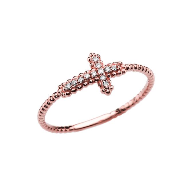 Sideways Cross Diamond Beaded Dainty Rose Gold Ring