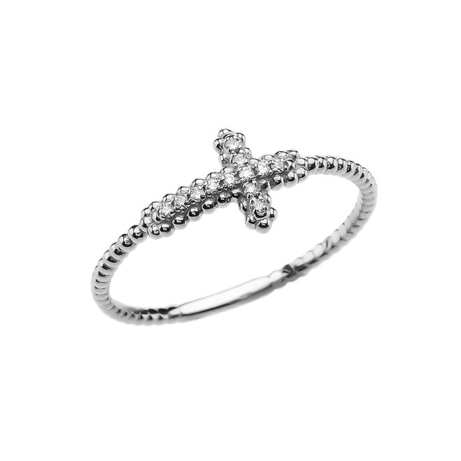 Sideways Cross Diamond Beaded Dainty White Gold Ring
