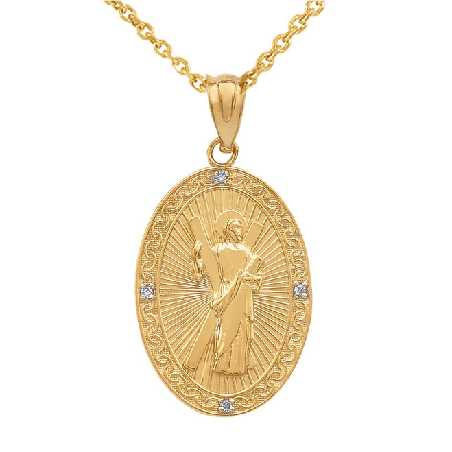 Yellow Gold St. Andrew Oval Medallion Diamond Pendant Necklace (Medium)
