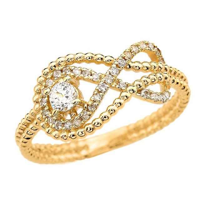 Diamond Infinity Beaded Ring in Yellow Gold
