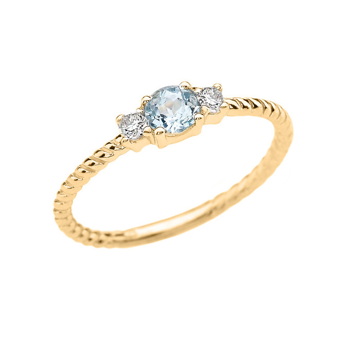 Yellow Gold Dainty Solitaire Aquamarine and White Topaz Rope Design Promise/Stackable Ring